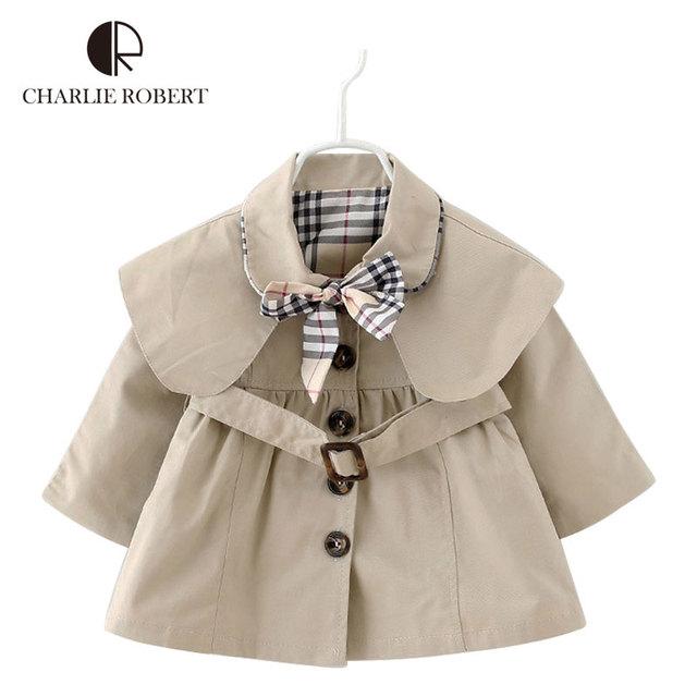 Nova Primavera Meninas Do Bebê Outono Outerwear Crianças Trincheira Causal Xadrez Moda Casacos Jaqueta Corta-vento Com Capuz Crianças Roupas