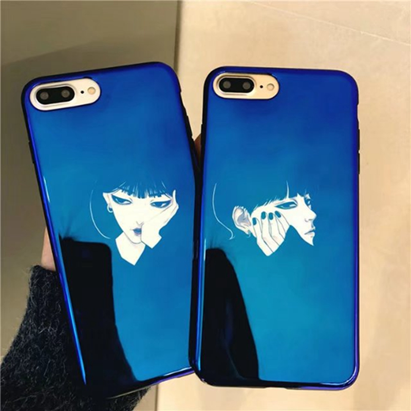 Blue cover For iphone 8 plus case <font><b>Waiting</b></font> for love girls Friends sisters phone shell For 6 6S 7 7plus 8 X cases