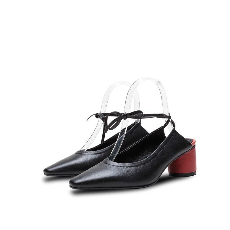 Smirnova 2019 ร้อนขายใหม่ปั๊มรองเท้าผู้หญิงสแควร์ toe lace up รองเท้าส้นสูงหนารองเท้าผสมสีของแท้หนังรองเท้าผู้หญิง-ใน รองเท้าส้นสูงสตรี จาก รองเท้า บน   3