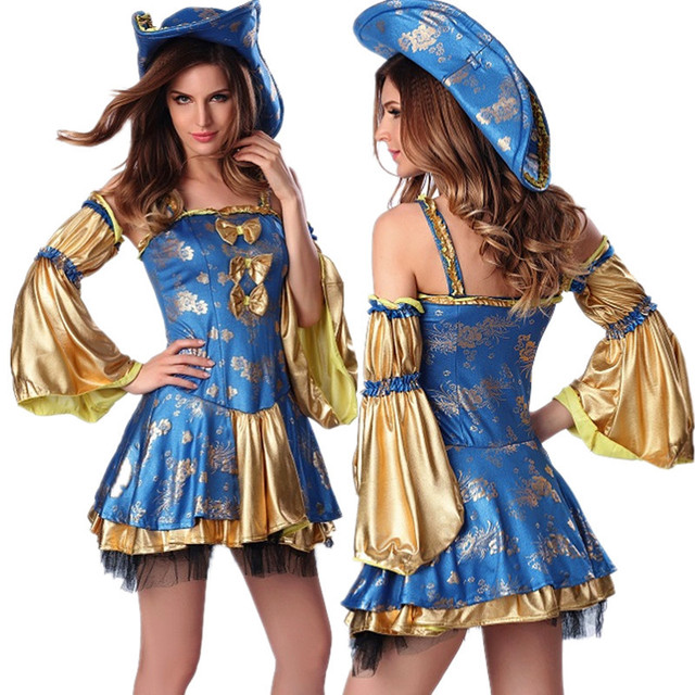 32423709da4 US $28.99 |Medieval Deluxe Pirate Costumes Adult Ladies Caribbean Wench  Fancy Dress UP Party Outfit Halloween Queen Witch Cosplay Costume-in  Holidays ...
