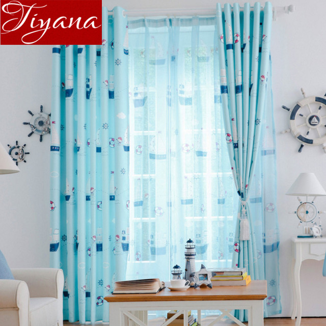 Cartoon Curtains With Pirate Ship Printed Voile Window Screen Yarn Kids Room Modern Living