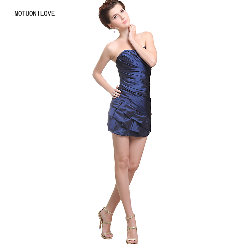 Bleu marine Mini robe moulante taffetas ruché robes de Cocktail robes de soirée Sexy femmes robes d'été Slim dames Club robes formelles