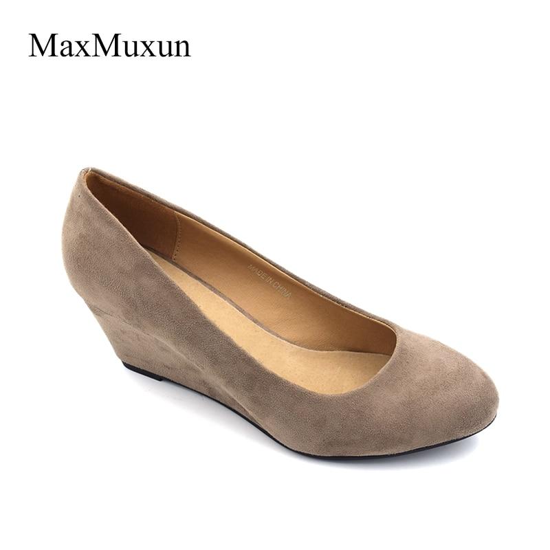 18f0de1c0f7 Maxmuxun Women s Wedges Platform Pumps High Heels Round Toe Court Shoes  Classic Office Ladies Suede Pumps