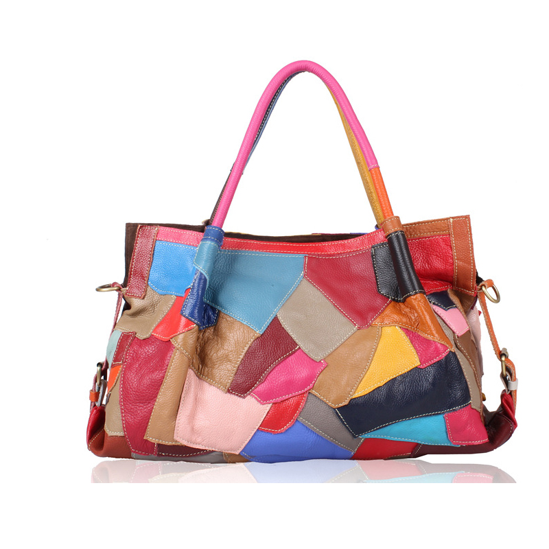 Wholesale Genuine Leather Women Handbags National Stylish Colorful Patchwork Cowhide Bag Large Tote