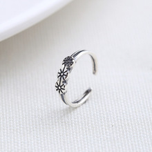 Real 925 Sterling Silver High Quality Simple Flowers Open Rings Jewelry Retro Style Korean Ring Womens