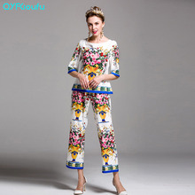 High Quality 2017 Designer Runway Women's Two Piece Set Flower Floral Print Tops And Blouses + White Pant Pantalones Mujer
