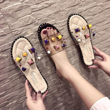Summer Women Slides Fashion Women Slippers Sandals Soft Soles Home crystal Slippers Beach Flip Flops Shoes Femme Outside Flat стоимость