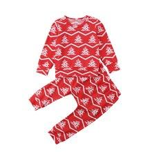 1ce4ac55ce20e Noël 2 pièces ensemble infantile enfant bébé garçon fille arbre imprimer  hauts pantalons coton mignon tenue pyjamas vêtements