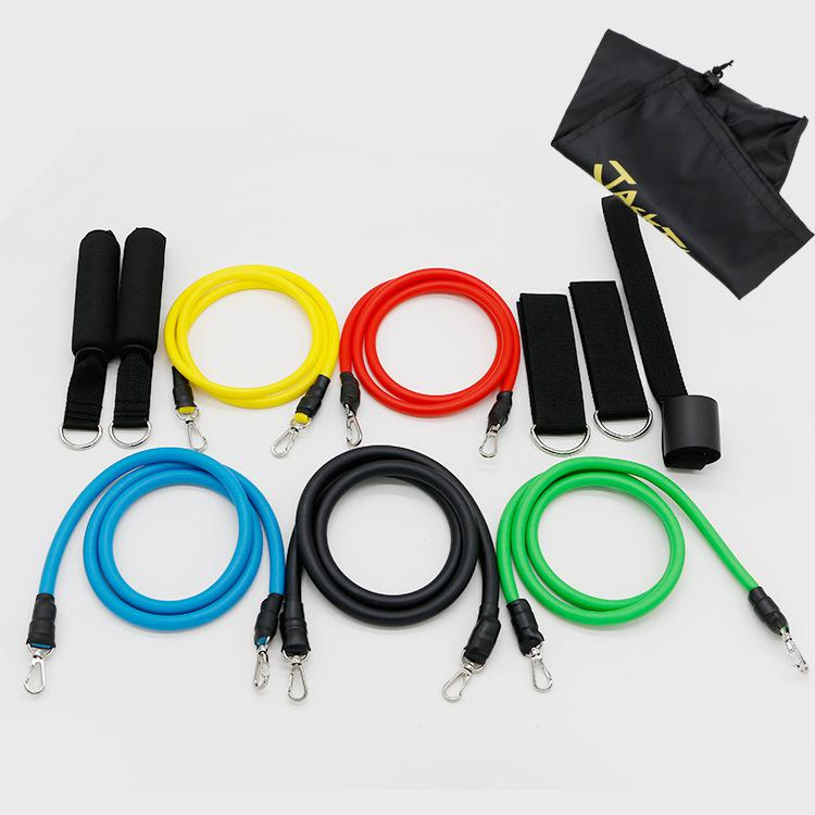 купить 11pcs/Set Gym Rubber Resistance Bands Latex Fitness Equipment Yoga Pull Rope Tubes Practical Elastic Training Equipment Rope по цене 983.24 рублей