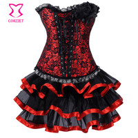 Red Satin & Black Lace Floral Appliques Zipper Sexy Corset Dress With Tutu Victorian Gothic Clothing Dresses Burlesque Costumes