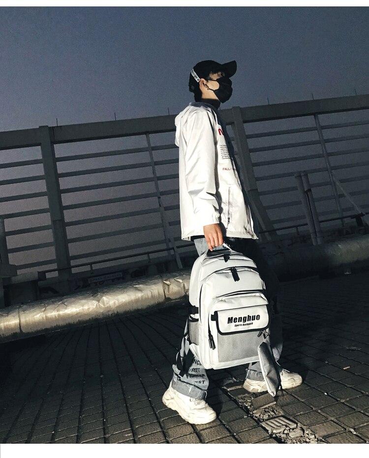 Menghuo 2PCS Mesh Pocket Backpack Purse Set New Girls Big Capacity School Bag Letters Travel Bag Men Rucksacks Mochilas Escolar_17
