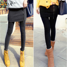 AIDAYOU Warm Pants Women Skirted Leggings Skinny Autumn Skirt with Fake Two Pieces Pencil OUC3334