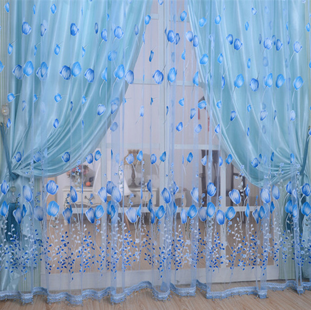 2017 Flower Curtain Transparent Window Curtains For Living Room Children Romantic  Bedroom Sheer Curtains For Children