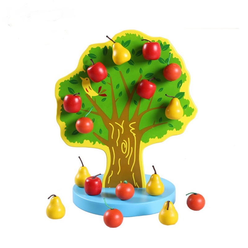 Baby Cute Magnetic Colorful Apple Tree Train Baby's Hands Brain Capacity Montessori Educational Wooden Toys Children Toys