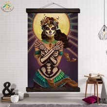 Sweet Skull Girl Single Framed Scroll Painting Modern Canvas Art Prints Poster Wall Pictures for Home Decor