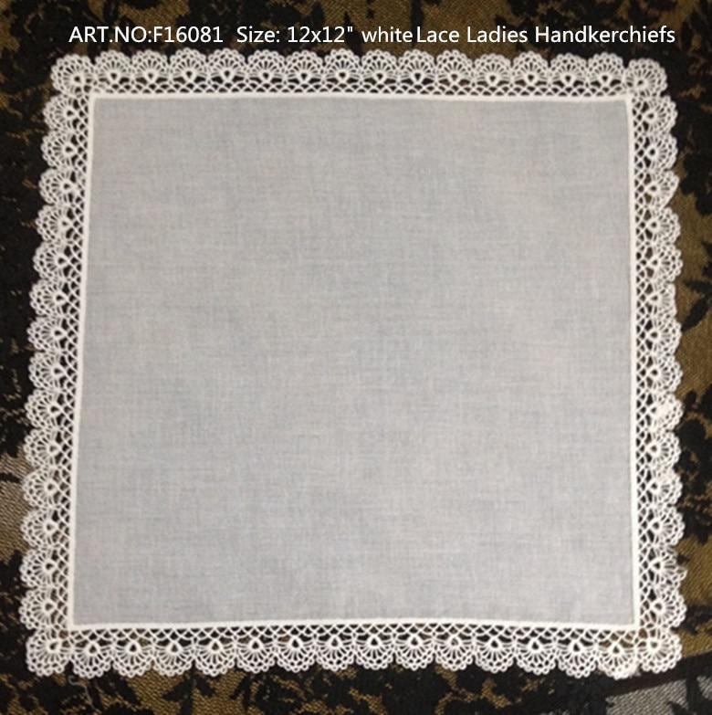 Set Of 12 Fashion Ladies Handkerchiefs White Cotton Wedding Bridal Handkerchief Crochet Lace Edge Hakies Hanky For Bride 12