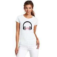 Music Lover Graffiti Headphones T Shirt Women Love Music Wave Summer T-shirt Brand Comfortable Soft Cotton Tops