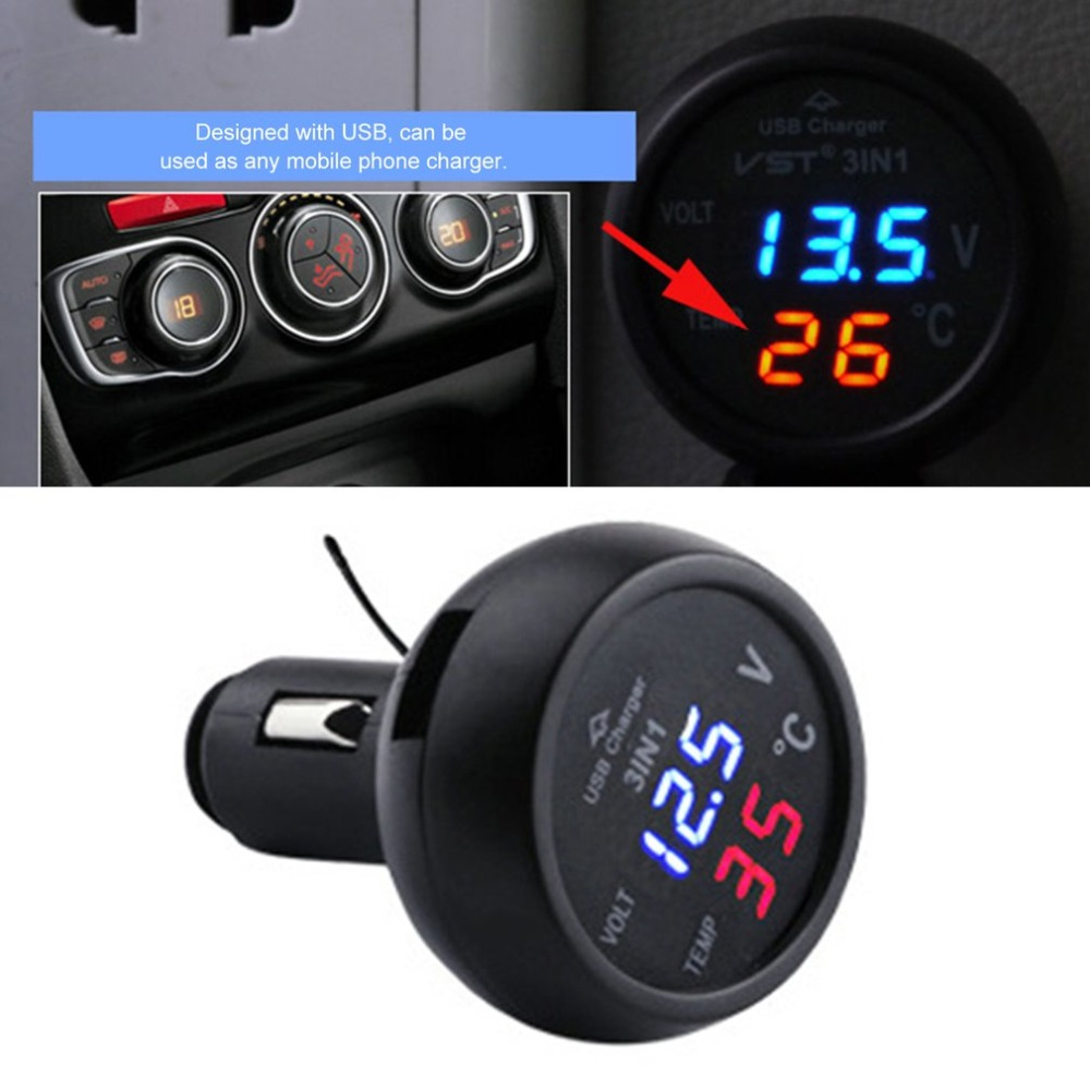 3 in 1 Auto Digital LED Thermometer Voltage Detection Table USB Car Charger Cigarette Voltmeter Meter Multifunctional new 3 in 1 digital led car voltmeter thermometer auto car usb charger 12v 24v temperature meter voltmeter
