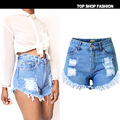 2016 Women's Fashion Brand Vintage Irregular Tassel Rivet Ripped Loose High Waisted Short Jeans Sexy Hot Woman Denim Shorts