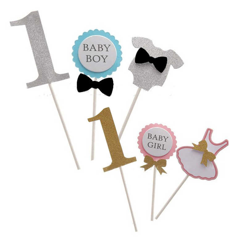 Detail Feedback Questions About Kids Baby Boy Girl Pink Bue Party Gifts Birthday Card Cake Toppers Dessert Table Dress Up 1 Year Old Wedding Decor On