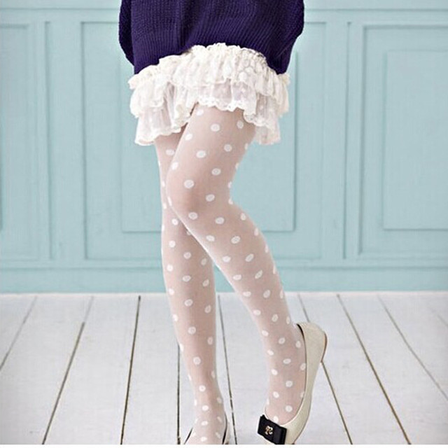 Women Sexy Sheer Lace Big Dot Pantyhose Stockings Vintage Silk Stockings Tights Female Hosiery medias de mujer 2019 New 1