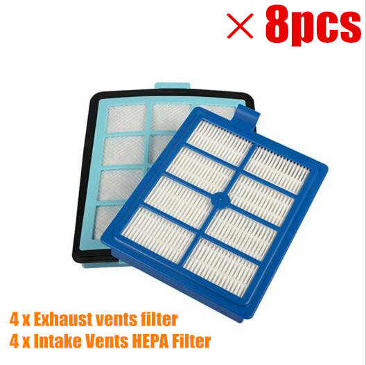 4x Exhaust vents filter +4x Intake Vents HEPA Filter Replacement for philips FC8766 FC8767 FC8760 FC8764 vacuum cleaner parts 1x intake vents hepa filter 1x exhaust vents filter for philips fc8766 fc8767 fc8760 fc8764 vacuum cleaner parts replacement