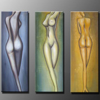3 Piece Canvas Art Wall Picture Hand Painted Abstract Nude Oil Painting Sexy Women Body Naked Acrylic Paintings Home Decoration