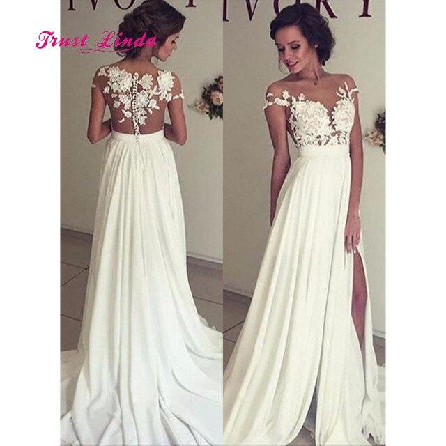 Aliexpress Buy Beach Wedding Dresses See Through Sheer Dinner