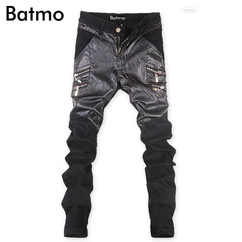 2016 famous brand cotton&PU Spliced pants men, casual mens pants ,black pants men