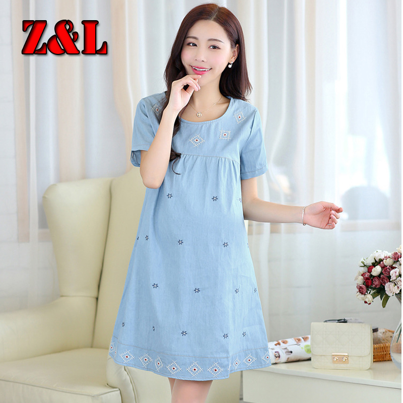 HOT~Summer dresses pregnant women short-sleeve100%denim cotton maternity dress comfortbable&Breathable - Fashion clothing store