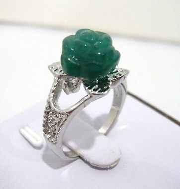 Charming หยกสีเขียว 10 มม. แหวนดอกไม้ (#6,7, 8,9)