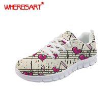 WHEREISART Zapatos Mujer música nota impreso Zapatos de Mujer Zapatos  planos de moda de Mujer de 2c1aecec8fb