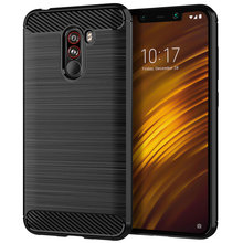 for xiaomi pocophone f1  mobile Brushed Finish cell phone Anti-knock back cover Soft Carbon fiber shockproof case