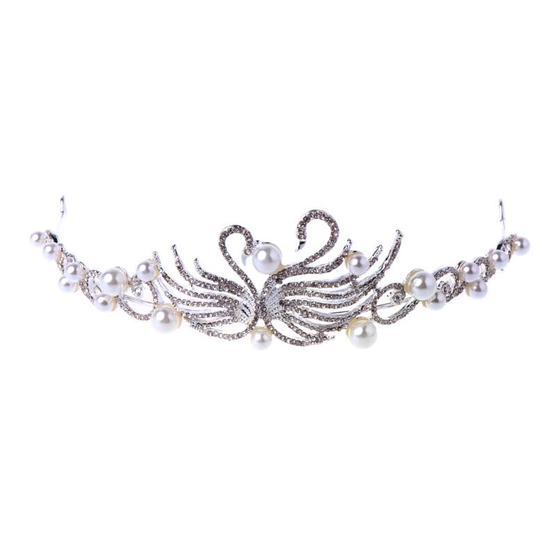 JAVRICK Faux Pearl Tiara Rhinestone Wedding Bride Crown Pageant Prom Party Headband Prom