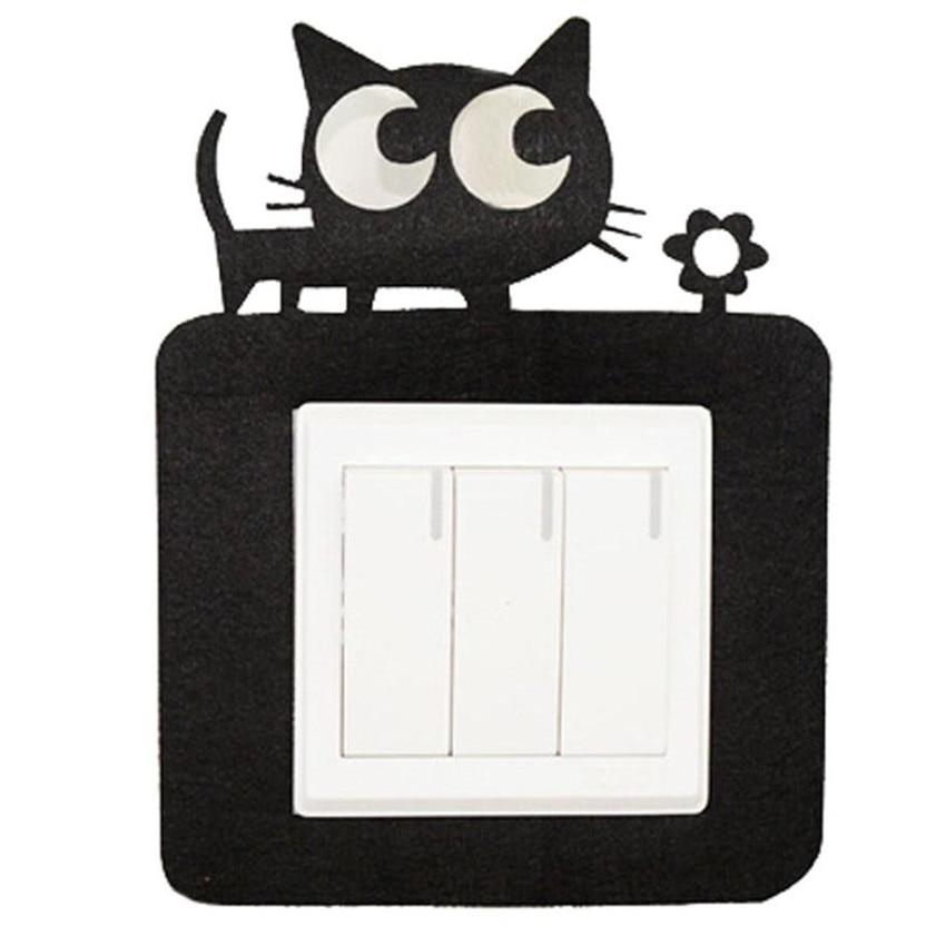 Wallpaper Sticker Stencil Wall designs Felt Not Hurt Sticky Black Cat Switch Stickers Wallpapers For Living Room 2018 B#