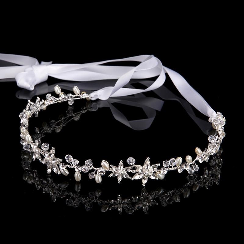 Bridal-Hair-Band Beaded-Flower Hair-Jewelry Wedding-Tiara Crystal Pearl Gold Silver Leaf