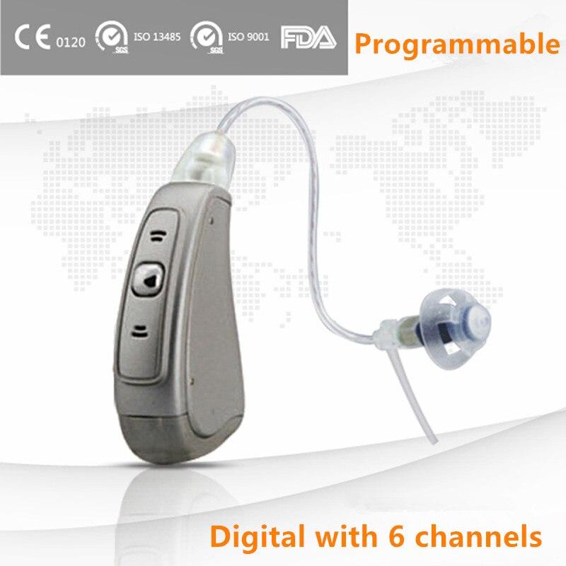 Aides auditives numériques programmables d'ast 6 canaux pour l'amplificateur sain silencieux superbe de la CE FDA de téléhuile de perte d'audition modérée à grave