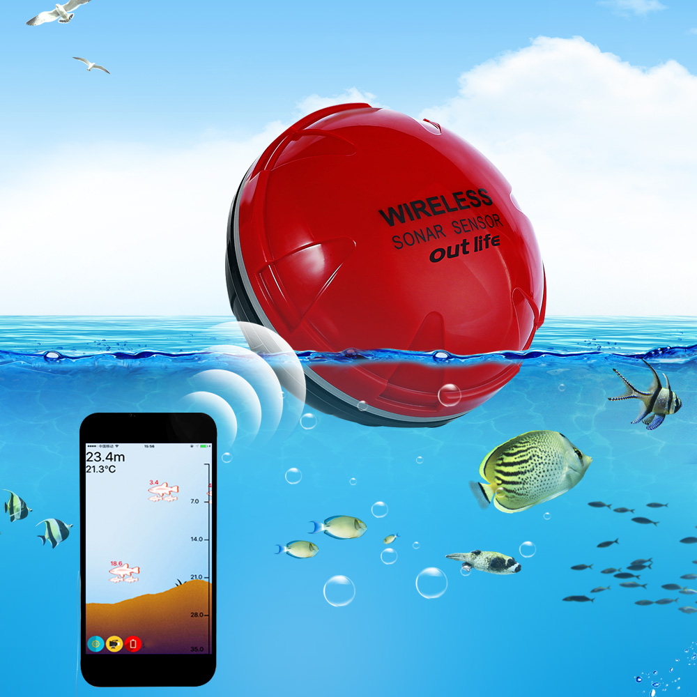 Smart Phone Fish Finder Wireless Sonar Fish Finder Sea Lake Fishing Detect iOS Android App Findfish Smart Sonar Echo Sounder lucky fishing sonar wireless wifi fish finder 50m130ft sea fish detect finder for ios android wi fi fish finder ff916