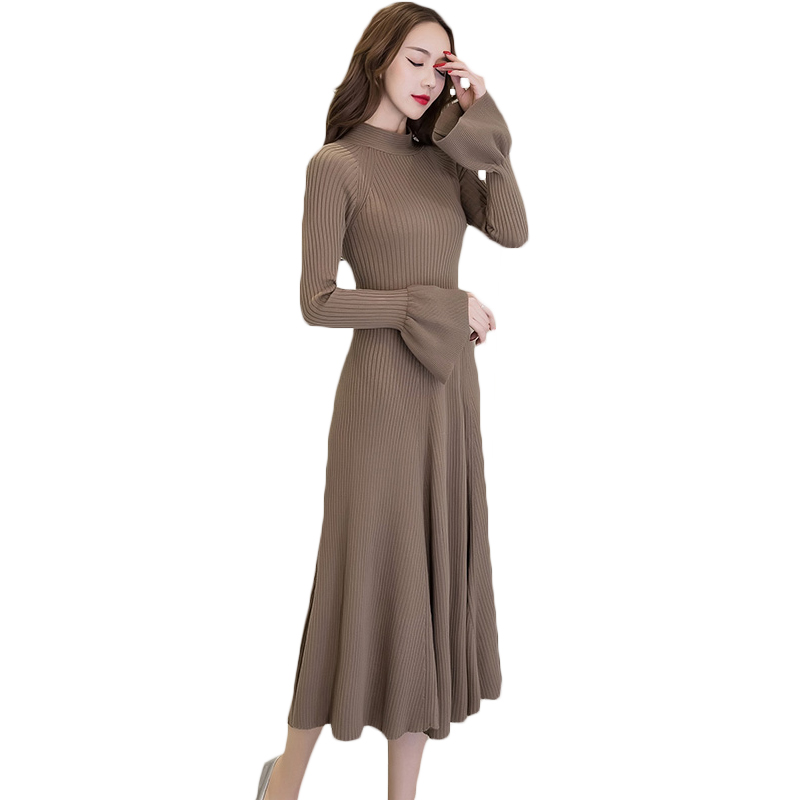 Knitted Sweater Dress Women Winter High Waist Slim Long Dress Female Flare Sleeve Turtleneck 2017 Autumn Pleated Dresses XH1042 velvet turtleneck pleated dress