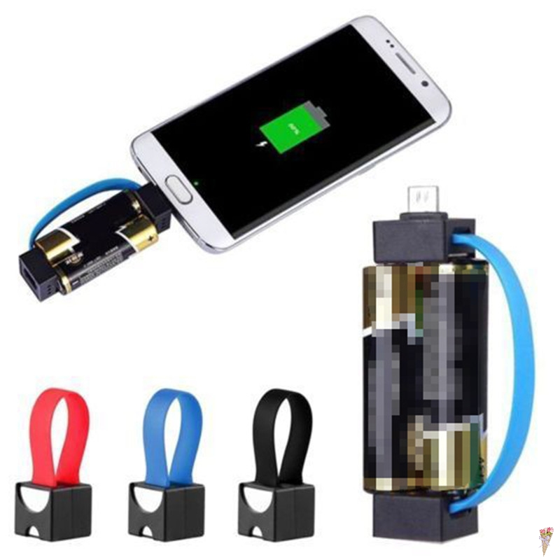 1pc 2 AA Battery Powered Mini Outdoor Portable Magnetic Smallest Micro USB Emergency Phone Charger for Samsung HTC Android