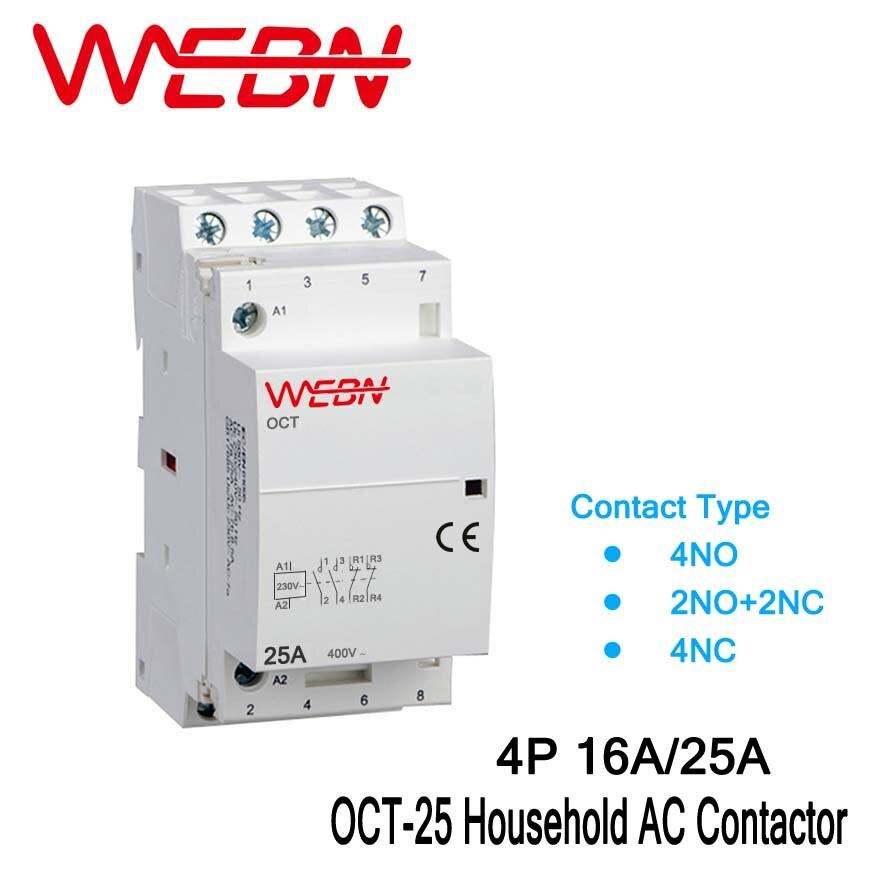 OCT-25 Série 4 P 16A/25A Automatique AC Ménage Contacteur 220 V/230 V 50/60Hz Formulaire de Contact 4NO/2NO + 2NC/4NC Din Rail Contacteur