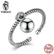 VOROCO Authentic 925 Sterling Silver Rings Simple Smooth Ball Twisted Rope Adjustable Open Cuff Ring For Women Fine Jewelry