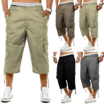 Meihuida 2019 Men's Combat Cargo Calf-Length Pants Summer Casual Work Toursers With Pockets 3/4 Capris Pants
