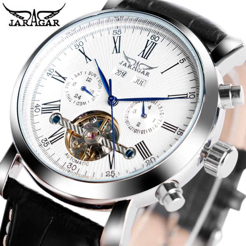 JARAGAR Luxus Marke Mode Selbst-wind Mechanische Uhren Herren Tag Datum Business Sport Armbanduhr 2017 Neue Leder Band uhr