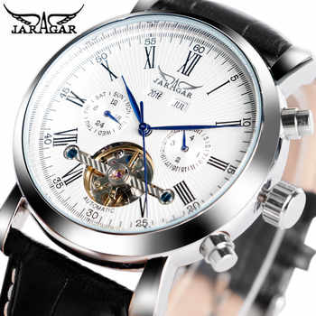 JARAGAR Luxury Brand Fashion Self-wind Mechanical Watches Mens Day Date Business Sport Wrist Watch 2020 New Leather Band Clock - DISCOUNT ITEM  41 OFF Watches