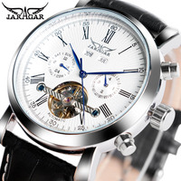 JARAGAR Luxury Brand Fashion Self wind Mechanical Watches Mens Day Date Business Sport Wrist Watch 2019 New Leather Band Clock