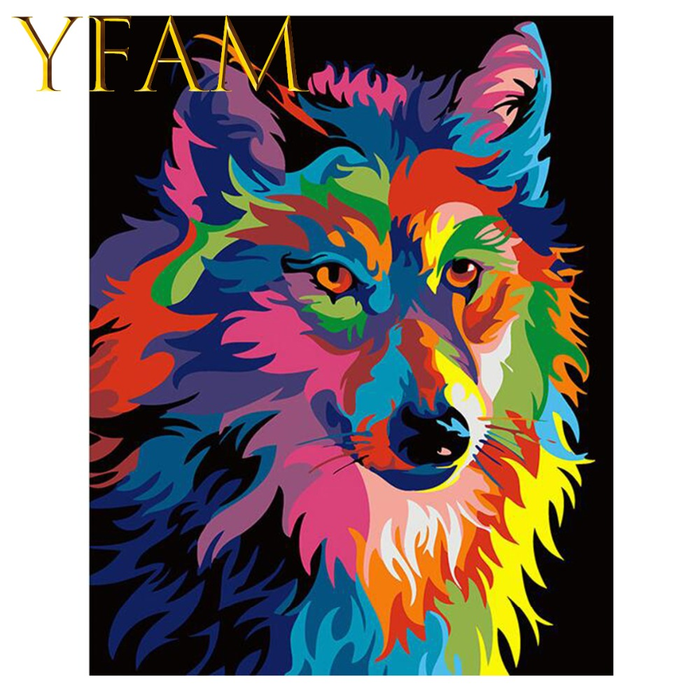Colorful Wolf Animals Painting By Numbers DIY Hand Paint Acrylic Drawing On Linen Canvas Modern Home Decorative Wall Picture in Painting Calligraphy from Home Garden