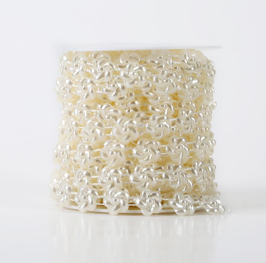 1 Spool Sunflower Shape ABS Pearl Garland Cake Banding Trim Ribbon For Sewing Wedding Party Centerpiece Decoration