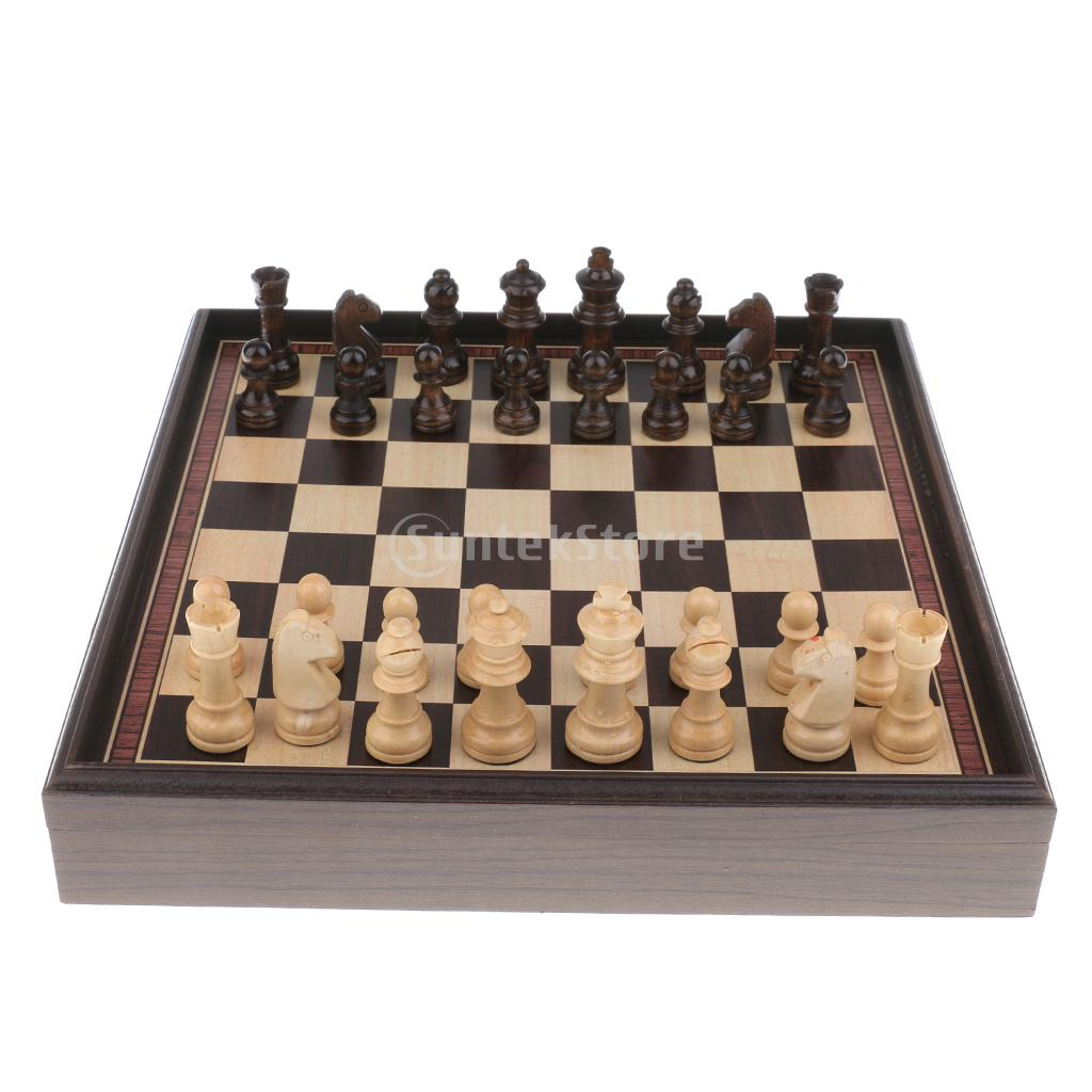 цена на 3 in 1 Chess Checkers Wooden Chess Set Entertainment Game Chess King Queen Chessman