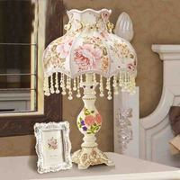 Vintage Luxury Crystal Ball Table Lamp E27 Living Room Bedroom Bedside Flower Fabric Lamp Shades Deco